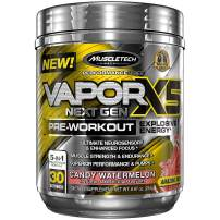 MuscleTech Vapor X5 Next Gen Pre Workout Powder, Explosive Energy Supplement, Candy Watermelon, 30 Servings