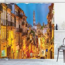 "Ambesonne European Shower Curtain, Cityscape Toward Old Buildings in Porto Mediterranean Town Streets Scenic Image, Cloth Fabric Bathroom Decor Set with Hooks, 70"" Long, Gold Blue"