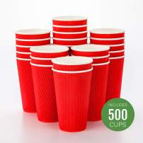 500-CT Disposable Red 16-OZ Hot Beverage Cups with Ripple Wall Design: No Need for Sleeves - Perfect for Cafes - Eco-Friendly Recyclable Paper - Insulated - Wholesale Takeout Coffee Cup