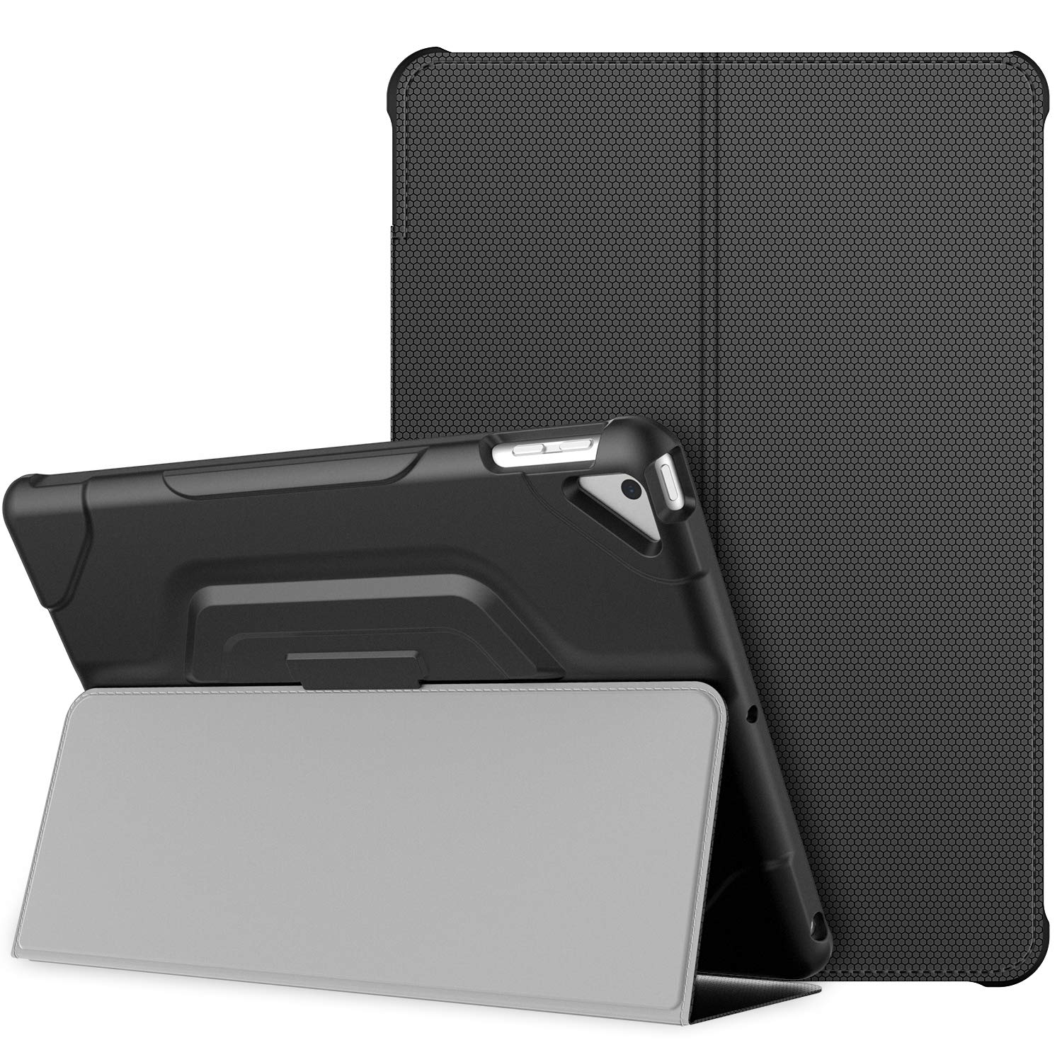 JETech Case for Apple iPad 7 (10.2-Inch, 2019 Model, 7th Generation), Double-fold Stand with Shockproof TPU Back Cover, Auto Wake/Sleep, Black