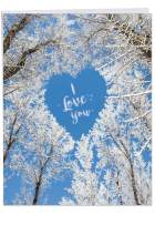 Sky Heart-Happy Valentines Day Card w/ Envelope Jumbo 8.5 x 11 Inch - White Trees forming a Heart in the Sky - I Love You - Snow Branches Stationery for Personalized Love Letter J3457VDG