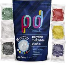 Polydoh Moldable Plastic + Coloring granules - Various Sizes - 12oz. Melts in hot Water. Durable Hand moldable Plastic for DYI, Crafts, Cosplay, Repairs, prototyping | Polymorph, plastimake