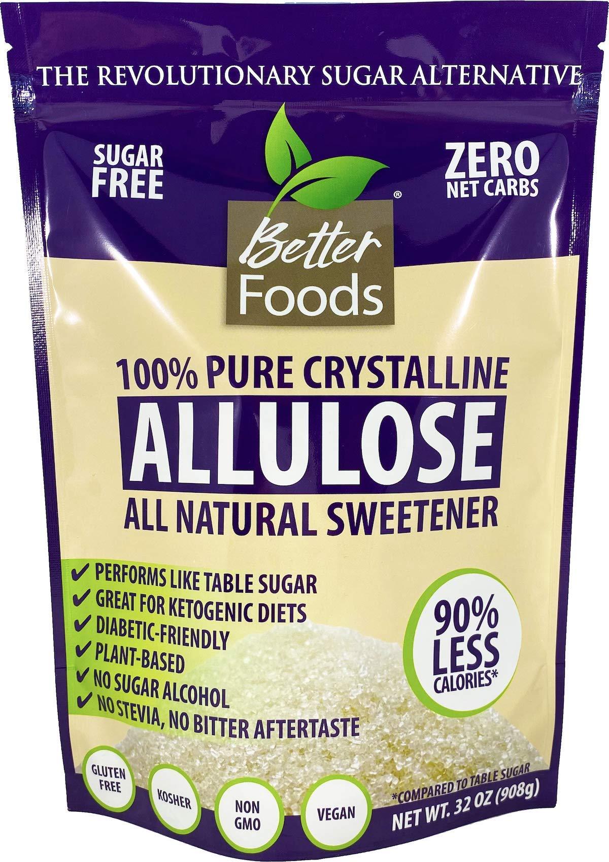 Allulose Non-GMO 32 oz 2 LBS Pure Crystalline Powder Sugar-Free Low Calorie Zero Net Carb Keto Diabetic Friendly Natural Sugar Replacement Sweetener No Sugar Alcohol Soy-Free Gluten-Free (1 Pack)