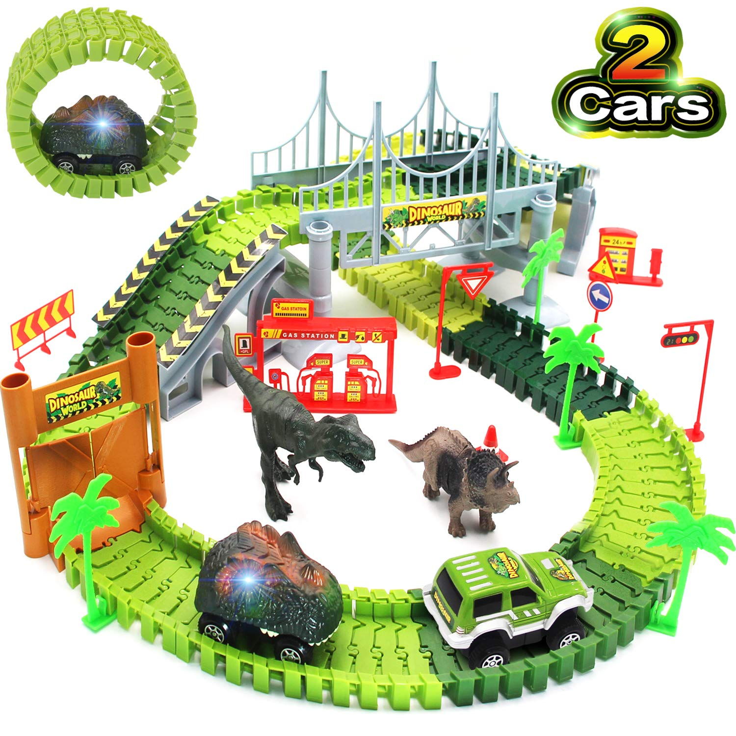 Bdwing Dinosaur Race Car Track Toys, Flexible Assembly Car Tracks Train Set for Boys Girls Toddlers and Kids (Extra 1 Set Traffic Signs) Best Gift for 2 3 4 5 Years Old