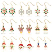 9 Pairs Christmas Earrings Holiday Jewelry Set gifts for Womens Girls,Thanksgiving Xmas Jewelry Drop Dangle Earrings Set.