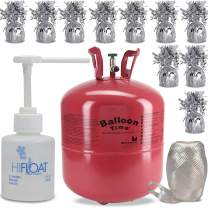 "Helium Tank + 12 Balloon Weights, 5.5"", 5.7 oz + Hi-Float Balloon Solutions, 5 oz + White Curling Ribbon 
