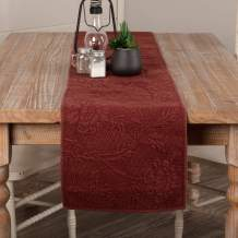 VHC Brands Farmhouse Tabletop & Kitchen-Carly Quilted Table Runner, 13x90, Red Rose