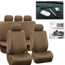 FH Group PU002115 + FH1002 Premium PU Leather Seat Covers (Tan) Full Set with Gift – Universal Fit for Cars Trucks and SUVs