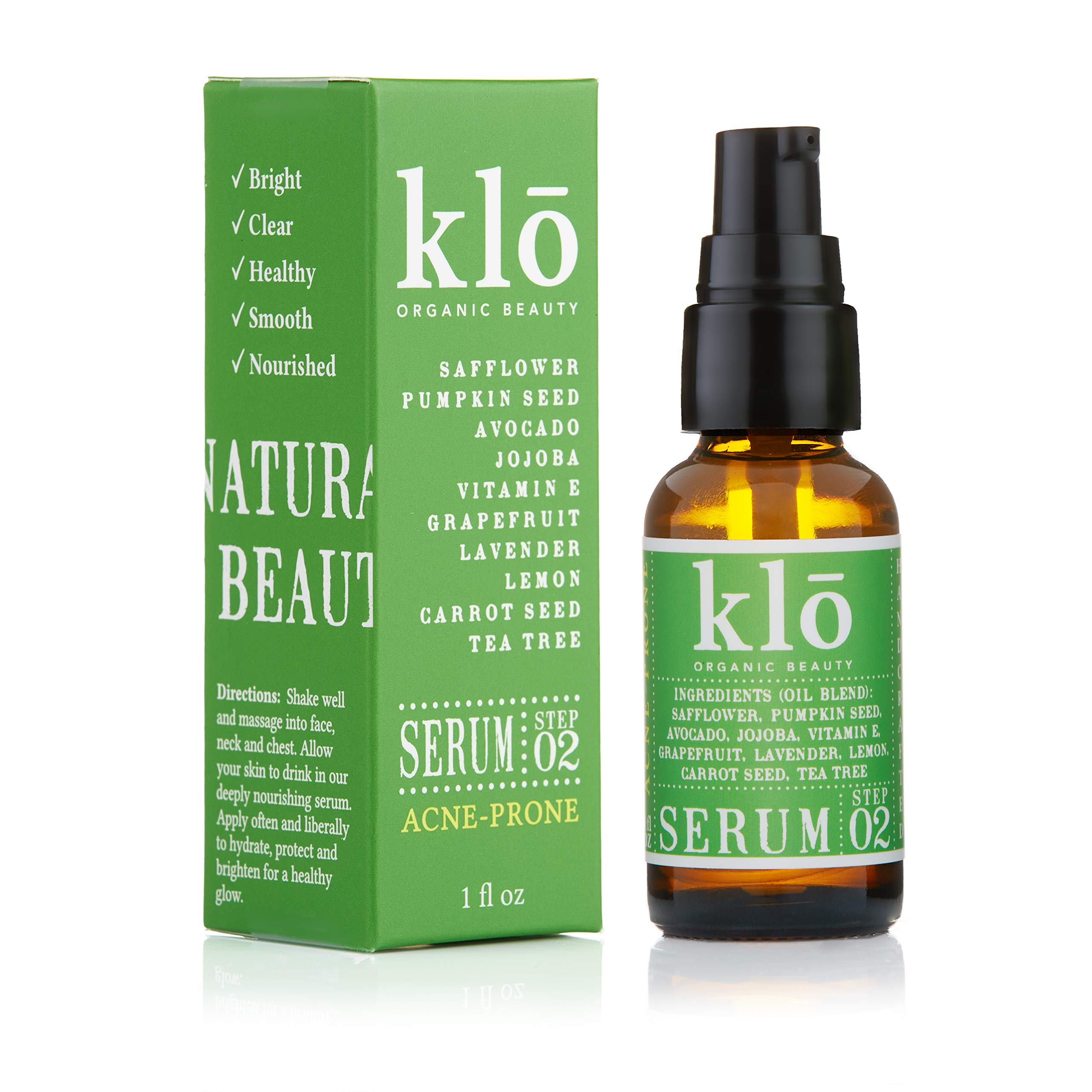 Klo Organic Beauty Serum for Acne-Prone Skin, Anti-Aging Serum, All-Natural Face Serum, Bright Clear Skin, Vitamin E, Lavender, Orange, Tea Tree Oil