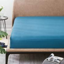 Bedsure Fitted Sheet King Teal - Extra Soft Brushed Microfiber, Wrinkle & Fade Resistant, Deep Pocket Fitted Sheets for Mattress Up to 14 inches(King, Teal Blue)