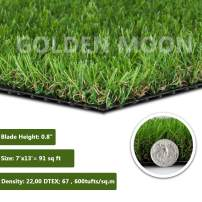 GOLDEN MOON Realistic Artificial Grass Mat 5-Tone Mowed-Lawn Touch Outdoor Turf Rug 0.8in(20mm) Blade Height Series Green 7'x 13'(91sq ft)