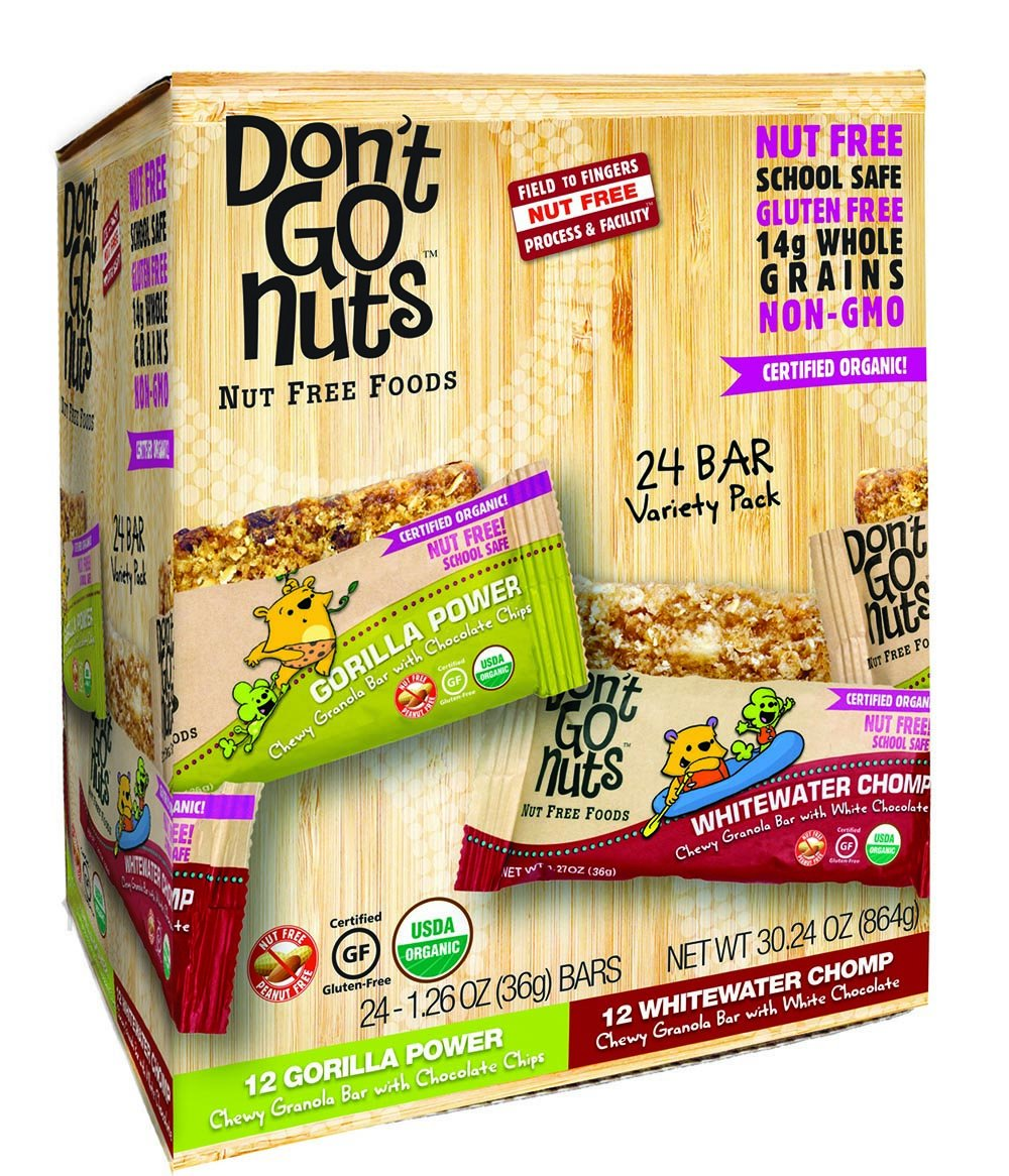 Don't Go Nuts Nut-Free Organic Snack Bars, 24 Count Variety Pack with Gorilla Power and Whitewater Chomp