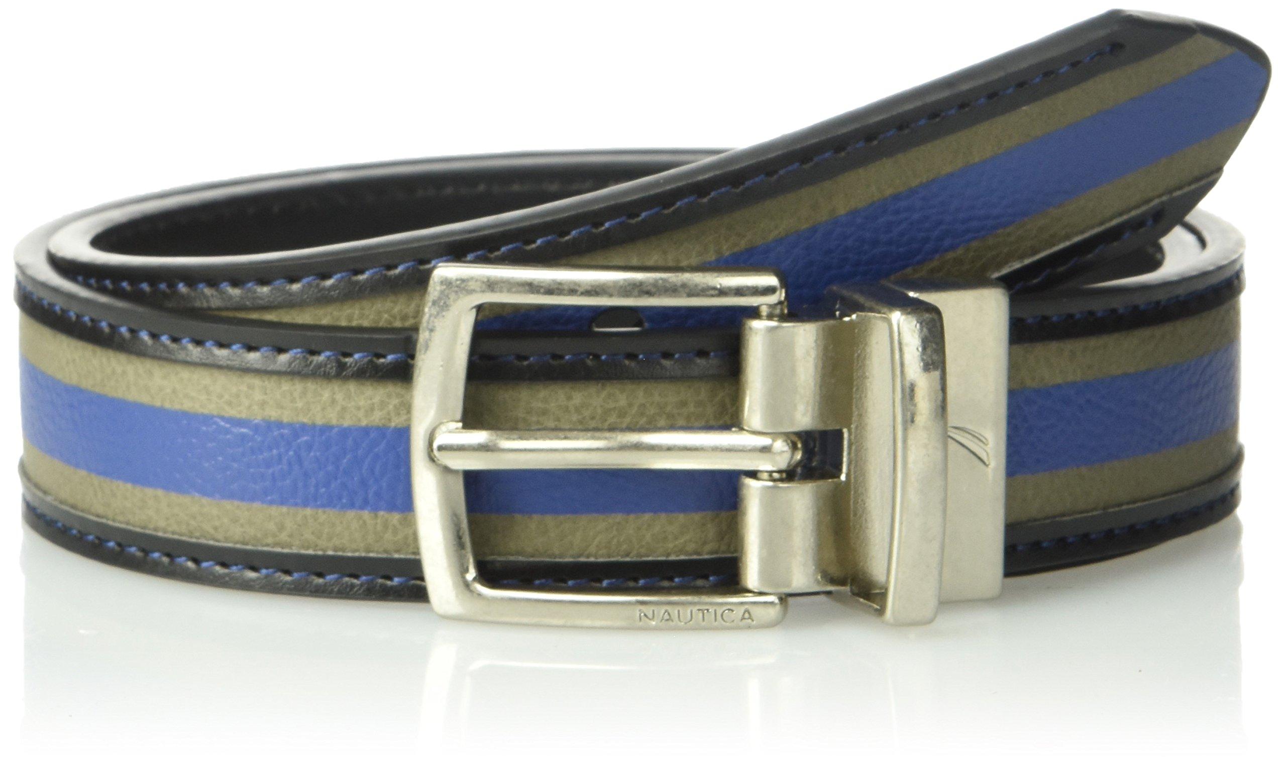 """Nautica Boys' Big 1"""" Wide Varsity Wool Reversible Black Belt"""