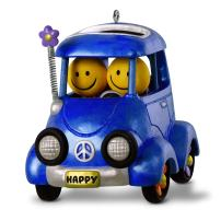 Hallmark Keepsake Christmas Ornament 2018 Year Dated Emoji Smile Face Happy Flower Power Car With Music and Solar Motion