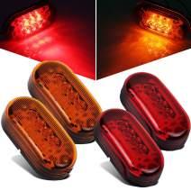 """Partsam 2 Amber + 2 Red 12V 4"""" x 2"""" Oval Led Truck Side Marker Light Surface Mount 10 Diodes, Sealed Trailer Led Clearance and Side Marker Lights, Black Base, Rectangular Rectangle Led Lights"""