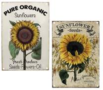 TISOSO Pure Organic Sunflower Seeds Metal Tin Sign Vintage Retro Wall Decor Art Farm Country Signs Size 2Pcs-8X12Inch