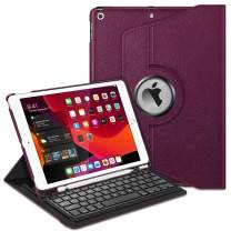 "Fintie Keyboard Case for iPad 7th Generation 10.2"" 2019-360 Degree Rotating Smart Stand Cover w/Pencil Holder, Built-in Wireless Bluetooth Keyboard for iPad 10.2"" Tablet, Purple"
