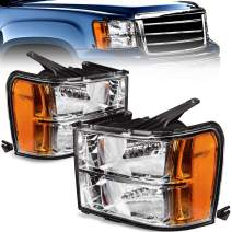 Headlights Assembly Replacement for 2007-2013 GMC Sierra 1500/2007-2014 GMC Sierra 2500HD I 3500HD Pickup OEDRO Amber Reflector Clear Lens Chrome Housing Replacement Headlamps Set, 2-Yr-Warranty