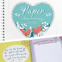 Unique 1st Wedding Anniversary Memory Book with Stickers and A Matching Card - 5-Second Memory Journal for Your Special Paper Anniversary - The Perfect Keepsake Booklet for Special Memories