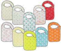 Baby Lounge Big X-Large Toddler Bib 10-Pack Extra Coverage - Soft Drool Absorbing, Easy to Clean (Fruit Prints, 2 to 4 Years)