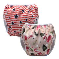 Luxja Reusable Swim Diaper (Pack of 2), Adjustable Swimming Diaper for Baby (0-3 Years), Forest Flamingo + Stars (Red Stripe)