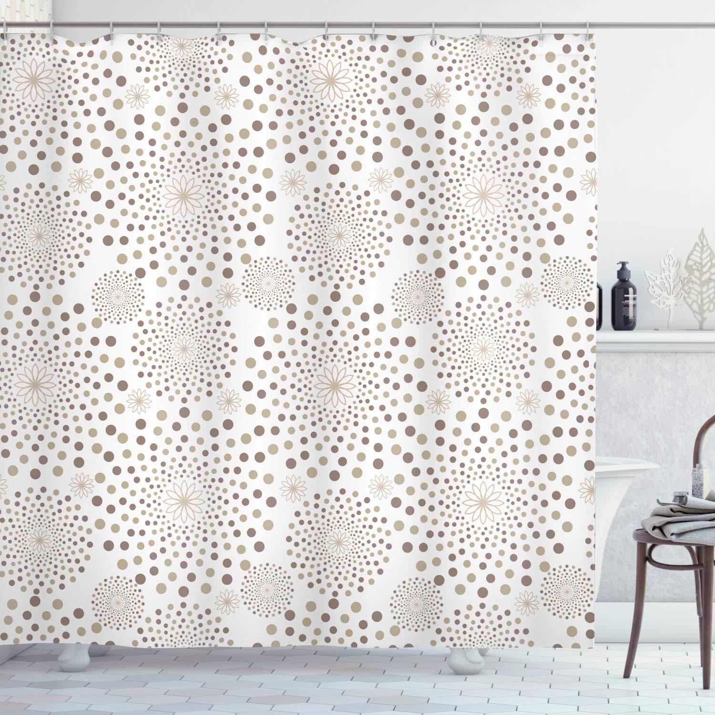 "Ambesonne Geometric Shower Curtain, Geometrical Floral Patterns Dots Monochromic Classic Nostalgia Circles, Cloth Fabric Bathroom Decor Set with Hooks, 75"" Long, Light Brown"