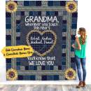 VTH Global Personalized Custom Grandchildren Grandkids Names Grandma Grandmother Touch Heart Quilt Blanket Twin Queen Size Tapestry Wall Hanging