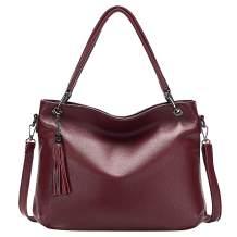 ALTOSY Soft Leather Handbags for Women Genuine Leather Shoulder Crossbody Bag Ladies Work Tote Bag with Tassel