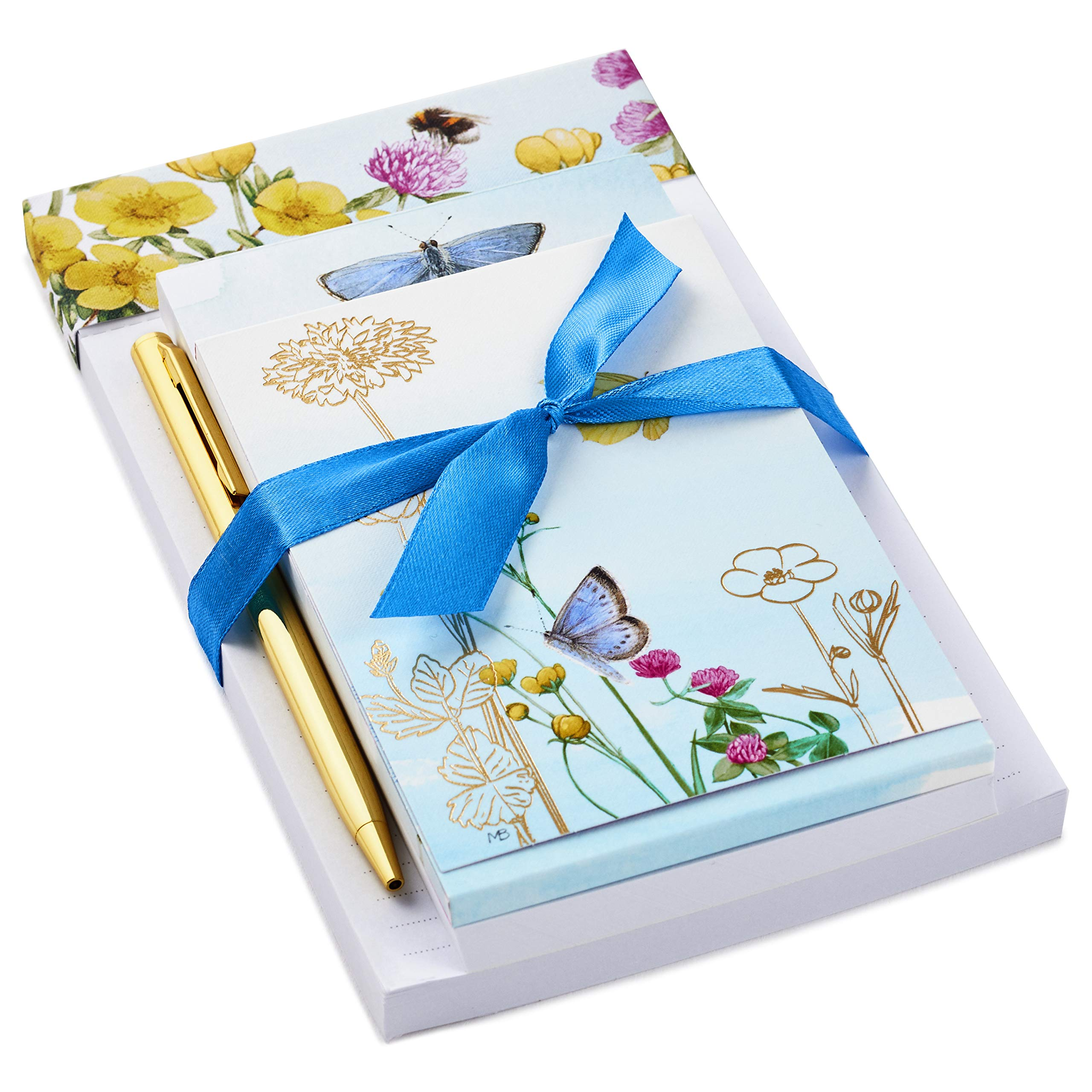 Hallmark Notepad Bundle with Pen, Marjolein Bastin Butterflies and Flowers (3 Notepads in Assorted Sizes with Gold Pen), (Model: 5STZ5084)
