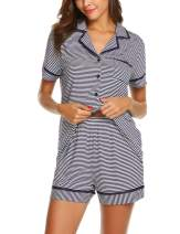 Ekouaer Pajamas Soft Striped Women's Short Sleeve Button Sleepwear Shorts Shirt PJ Set(S-XXL)