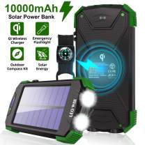 Solar Charger Power Bank- Portable Solar Charger IPX4 Waterproof Outdoor Travel Qi Wireless Solar Panel Charging External Battery Pack with DC5V/2.1A USB Output/Type-C Input/Dual Flashlight/Compass