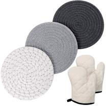 Potholders Set 100% Cotton Thread Weave Pot Holders (Set of 3) Hot Pads, Spoon Rest, Coasters with 2pcs Cotton Oven Mitts for Cooking and Baking (Grey)