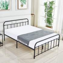 DIKAPA Metal Bed Platform Full Size Frame with Headboard/No Boxspring Needed/Mattress Foundation/Box Spring Replacement/Premium Heavy Steel Tube Support,Antique Black Baking Paint