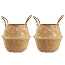 Woven Seagrass Plant Basket Set of 2 Tote Bag with Handles for Storage, Laundry, Picnic,and Plant Pot Cover (Large, Original)