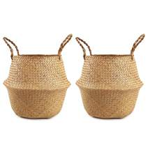 Woven Seagrass Plant Basket Set of 2 Tote Bag with Handles for Storage, Laundry, Picnic,and Plant Pot Cover (Medium, Original)