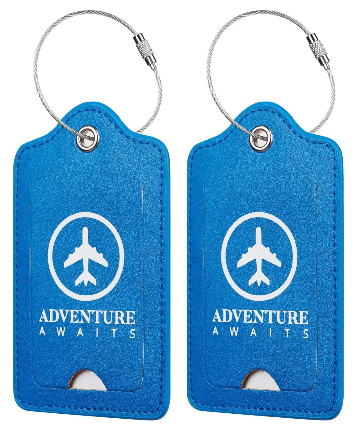 Chelmon Leather Luggage Tags Baggage Bag Instrument Tag 2 Pcs Set (Blue Unforgettable 6215)