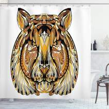 """Ambesonne Tattoo Shower Curtain, Head of Lion with Feather Art on His Mane Design Print, Cloth Fabric Bathroom Decor Set with Hooks, 70"""" Long, Yellow White"""