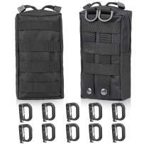 GOHIKING Molle Pouch 2 Packs Tactical Compact,EDC Utility Gadget Waist Bag with 10 Pack Multipurpose D-Ring Grimloc Locking Hook