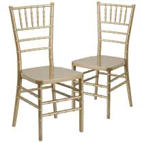 Flash Furniture 2-LE-GOLD-GG  2 Pk. HERCULES PREMIUM Series Gold Resin Stacking Chiavari Chair