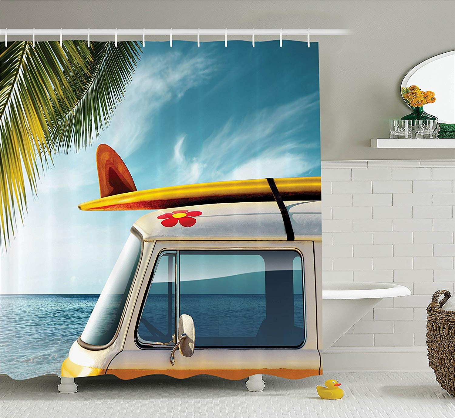 """Ambesonne Surfboard Shower Curtain, Vintage Van in The Beach with a Surfboard on The Roof Journey Spring Sky Season, Cloth Fabric Bathroom Decor Set with Hooks, 70"""" Long, Yellow"""