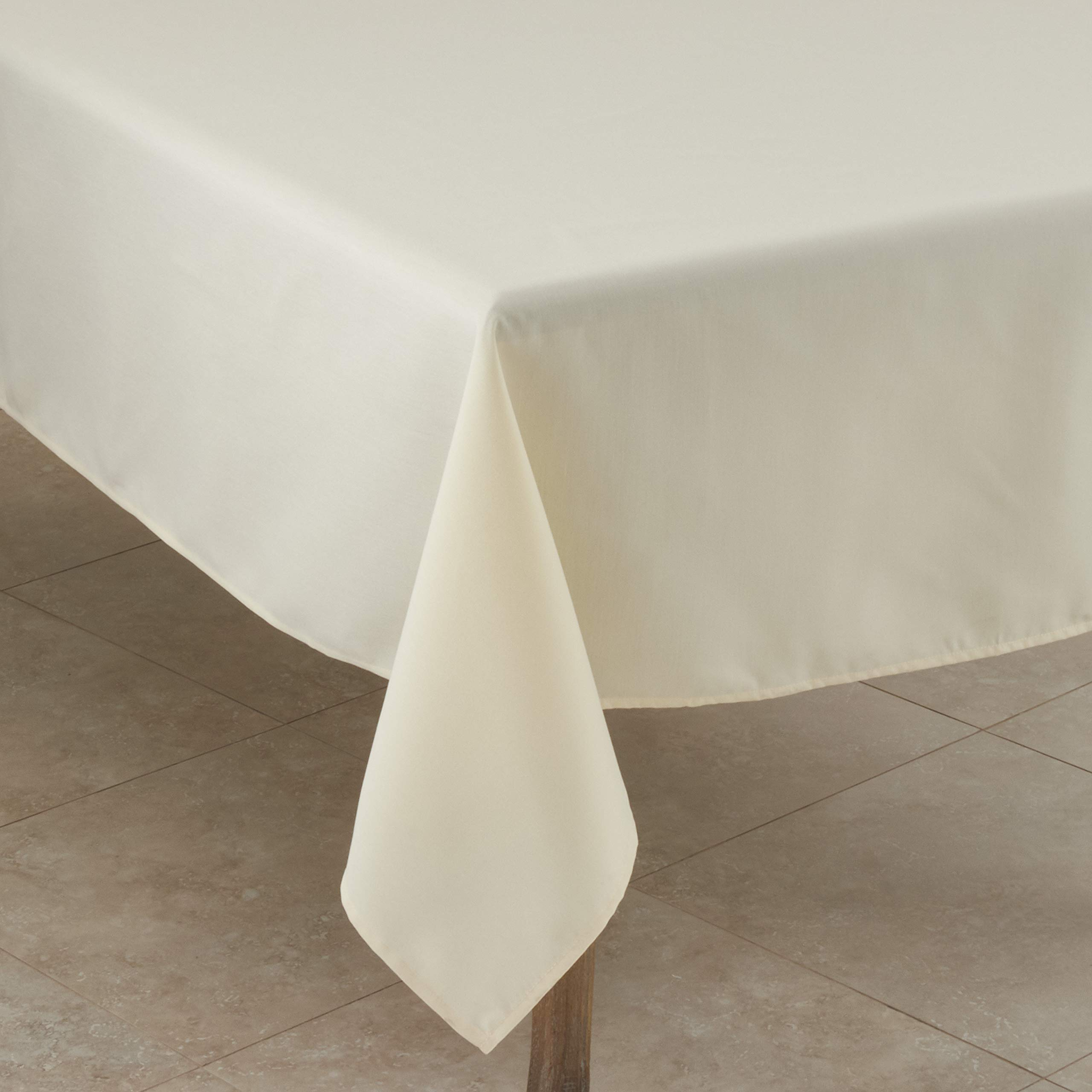 """SARO LIFESTYLE 321.I60S Collection Casual Design Everyday Tablecloth, 60"""", Ivory"""