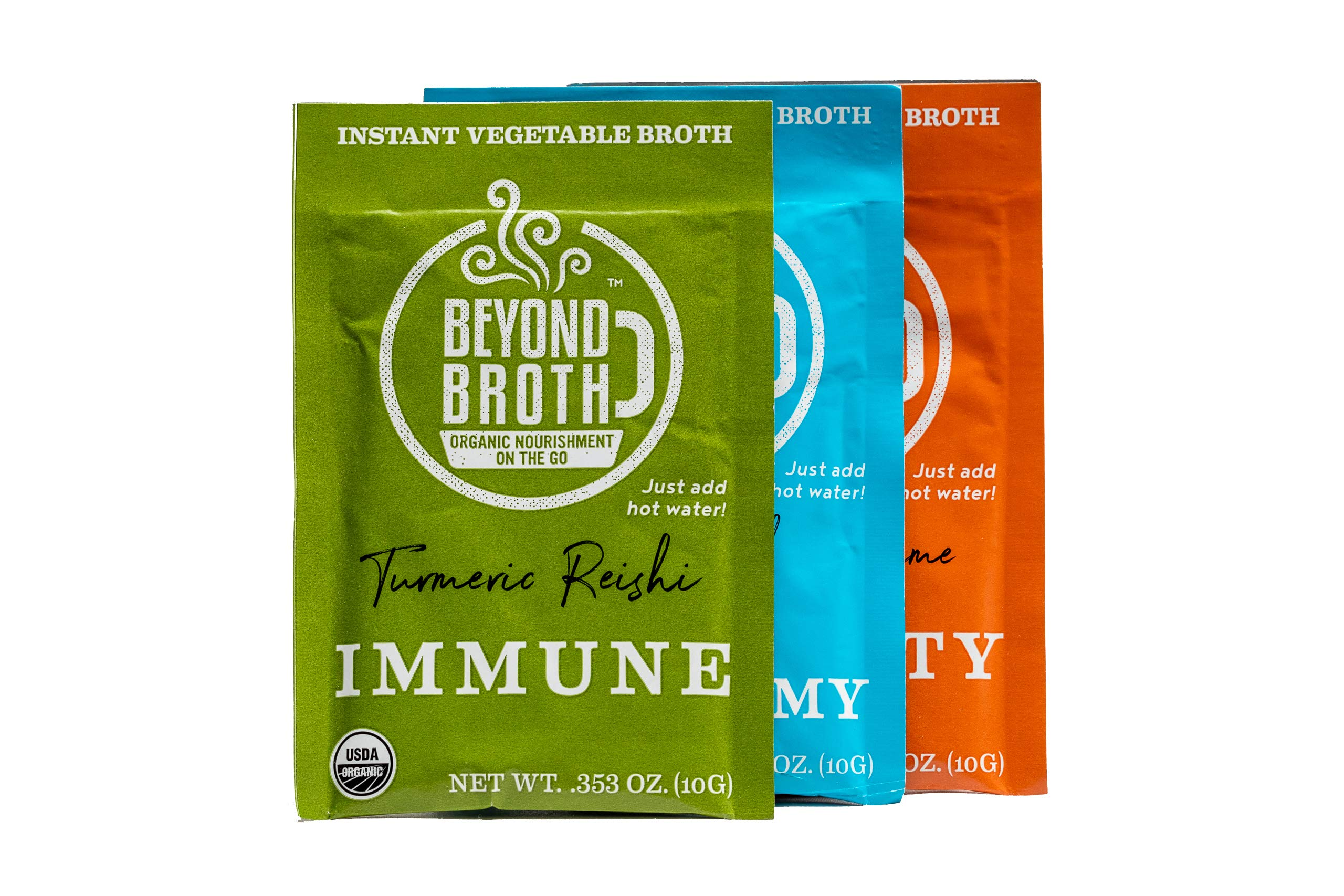 Beyond Broth Trial Variety Pack Organic Vegan Vegetable Instant Sipping Broth For On The Go Or Cooking Keto, Paleo and Whole30 Friendly 1 Single Serve Packet of each Flavor