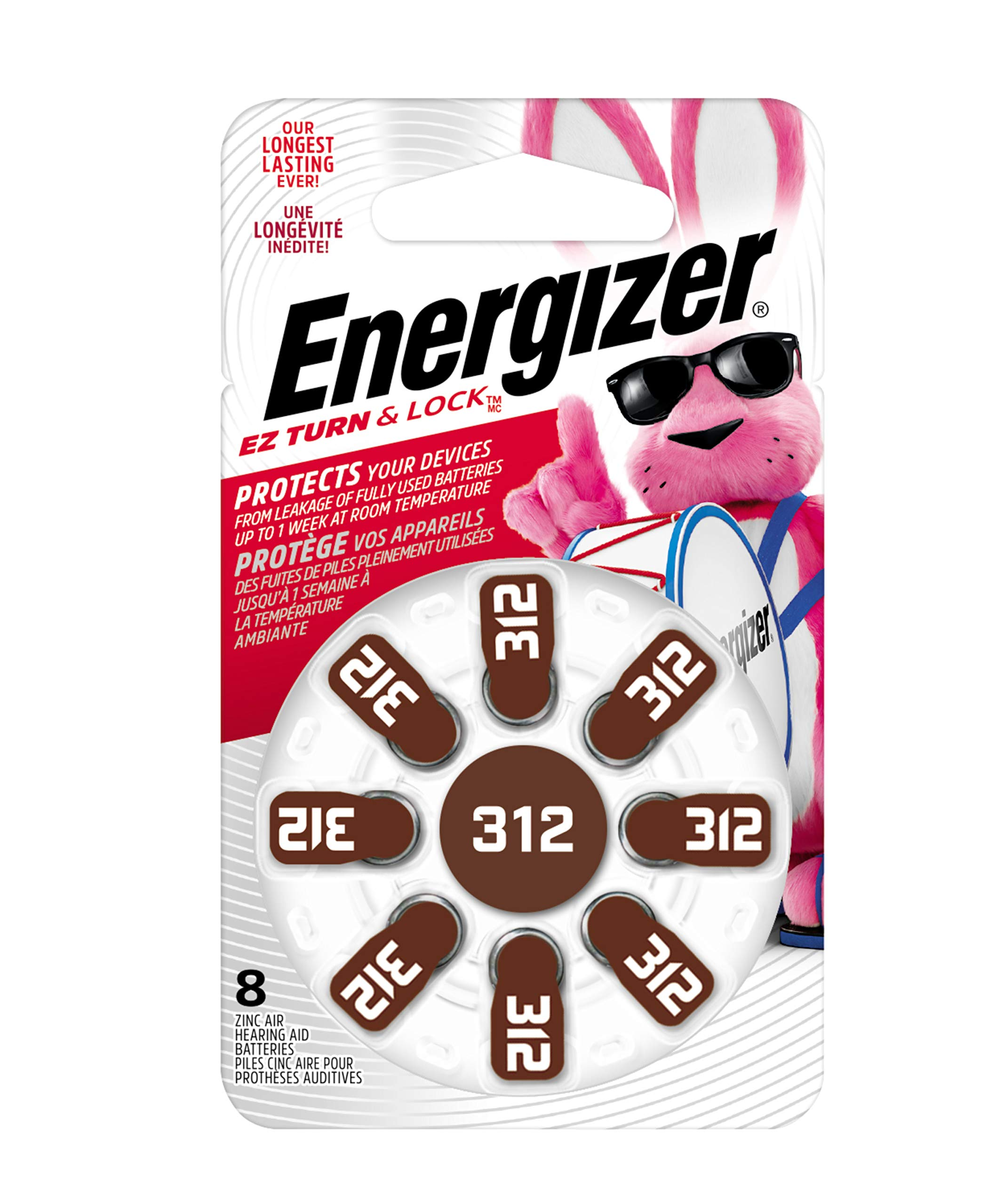 Energizer Hearing Aid Batteries Size 312, EZ Turn & Lock (8 Battery Count)