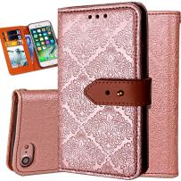 iPhone 6S Wallet Case,Auker Flip Folio Vintage Leather Book Style Stand Case Full Body Protection Retro Purse Cover with Card Holders&Hidden Cash Pocket for Women/Men for iPhone 6/6s 4.7 Inch (Gold)