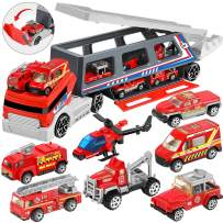 Geyiie Fire Truck Toy, Die-cast Fire Engine Car Vehicle in Detachable Fire Carrier Transport Car, Mini Rescue Emergency Double Side Truck Toys for Kids Boy Girl Party Favors