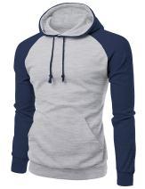 Xpril Men's Raglan Style Trendy Basic Hoodie T-Shirt
