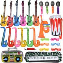 Max Fun 27PCS Random Color Inflatable Party Props Instrument Inflate Rock Band Assortment for Concert Theme Party Favors (Pack of 27)