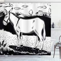 """Ambesonne Donkey Shower Curtain, Donkey Standing on The Side of a Road in The Village Animals Farmlife Concept, Cloth Fabric Bathroom Decor Set with Hooks, 70"""" Long, White Black"""