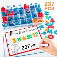 Magnetic Letters and Numbers for Kids, 237PCS Classroom Magnets Letters Kit with Double Sided Magnet Boards, Magnetic Pens and Storage Box, Uppercase Lowercase Foam Alphabet ABC Letters for Toddlers