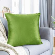 "Nestl Bedding Throw Pillow Cover 24"" x 24"" Soft Square Decorative Throw Pillow Covers Cozy Velvet Cushion Case for Sofa Couch Bedroom - Garden Green"